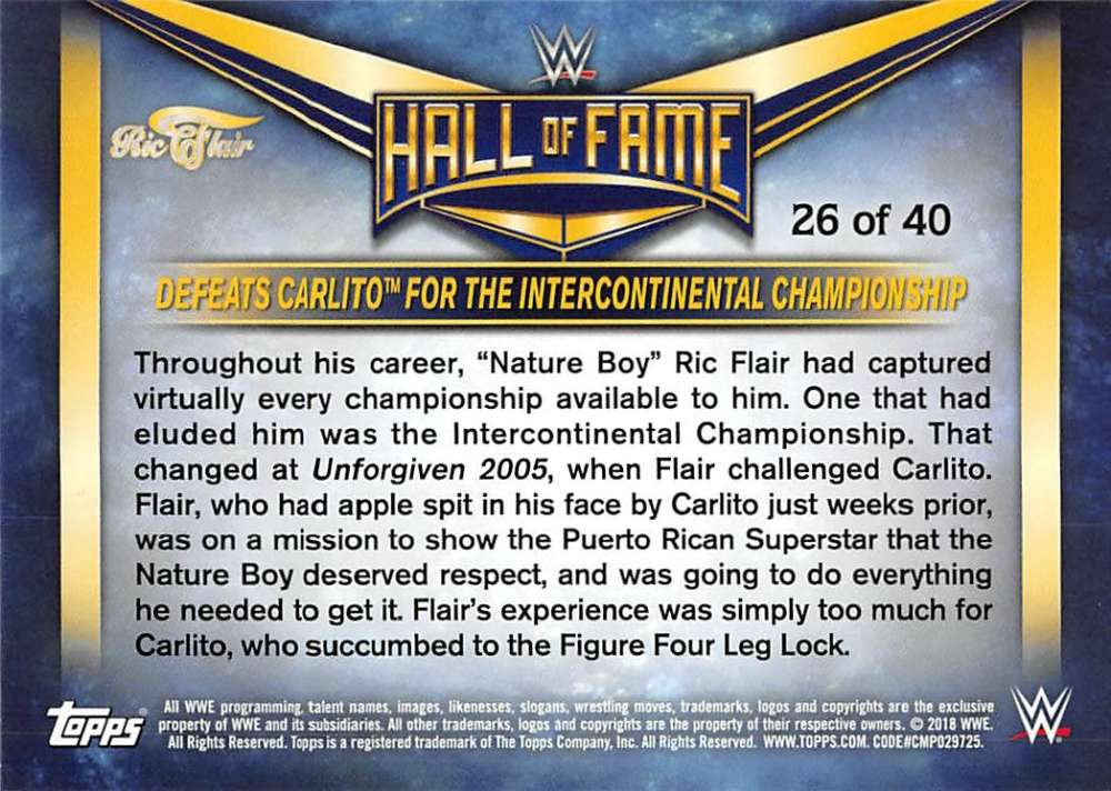 Lot-2018-Topps-Heritage-WWE-Ric-Flair-Hall-of-Fame-Tribute-Part-3-Pick-Cards thumbnail 11