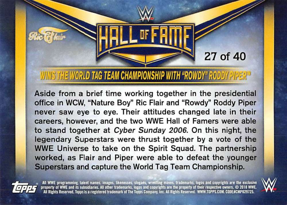 Lot-2018-Topps-Heritage-WWE-Ric-Flair-Hall-of-Fame-Tribute-Part-3-Pick-Cards thumbnail 13