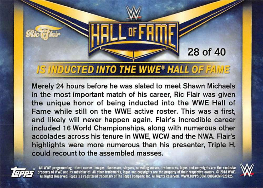 Lot-2018-Topps-Heritage-WWE-Ric-Flair-Hall-of-Fame-Tribute-Part-3-Pick-Cards thumbnail 15