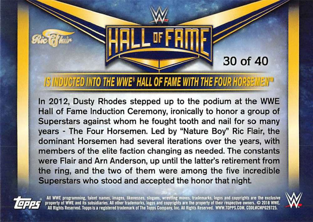 Lot-2018-Topps-Heritage-WWE-Ric-Flair-Hall-of-Fame-Tribute-Part-3-Pick-Cards thumbnail 19