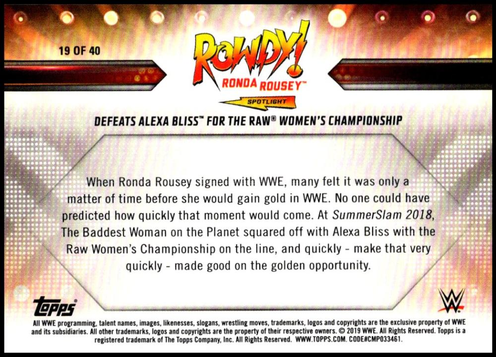 2019-Topps-WWE-RAW-Pick-A-Card-Ronda-Rousey-Spotlight-Inserts miniature 19