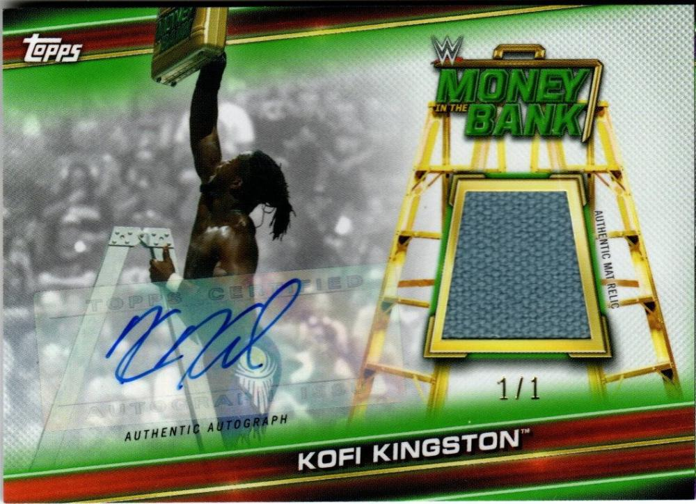 2019 Topps WWE Money in the Bank Superstar Mat Relic Autographs Red